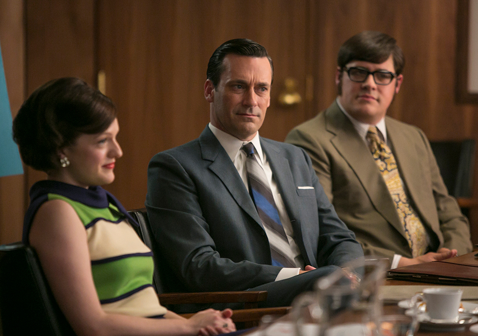 Peggy Olson (Elisabeth Moss), Don Draper (Jon Hamm) and Harry Crane (Rich Sommer) in Episode 7 of Mad Men