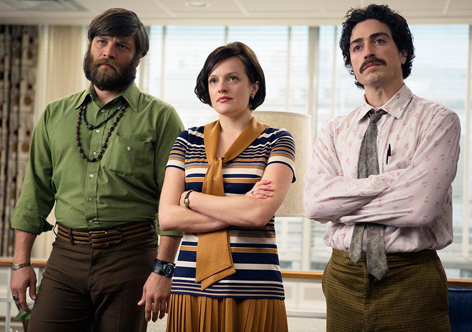 Stan Rizzo (Jay R. Ferguson), Peggy Olson (Elisabeth Moss) and Michael Ginsberg (Ben Feldman) in Mad Men