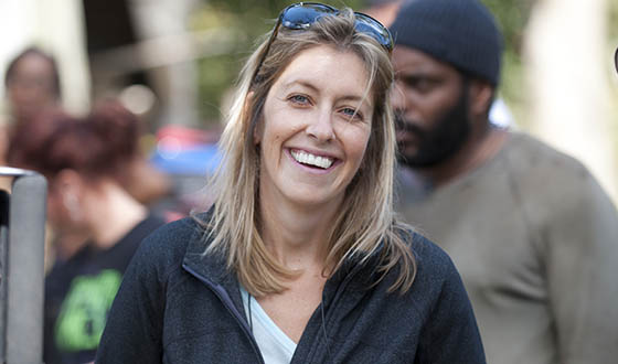 Co-Executive Producer Densie Huth on the set of The Walking Dead Season 5