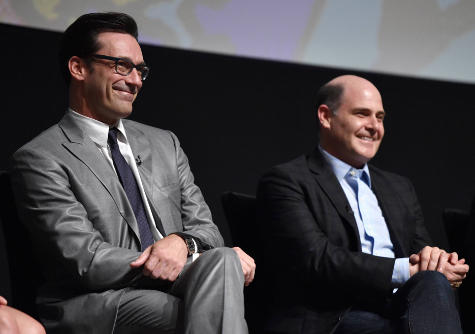 Jon Hamm (Don Draper) and Matthew Weiner (Series Creator and Executive Producer) from Mad Men