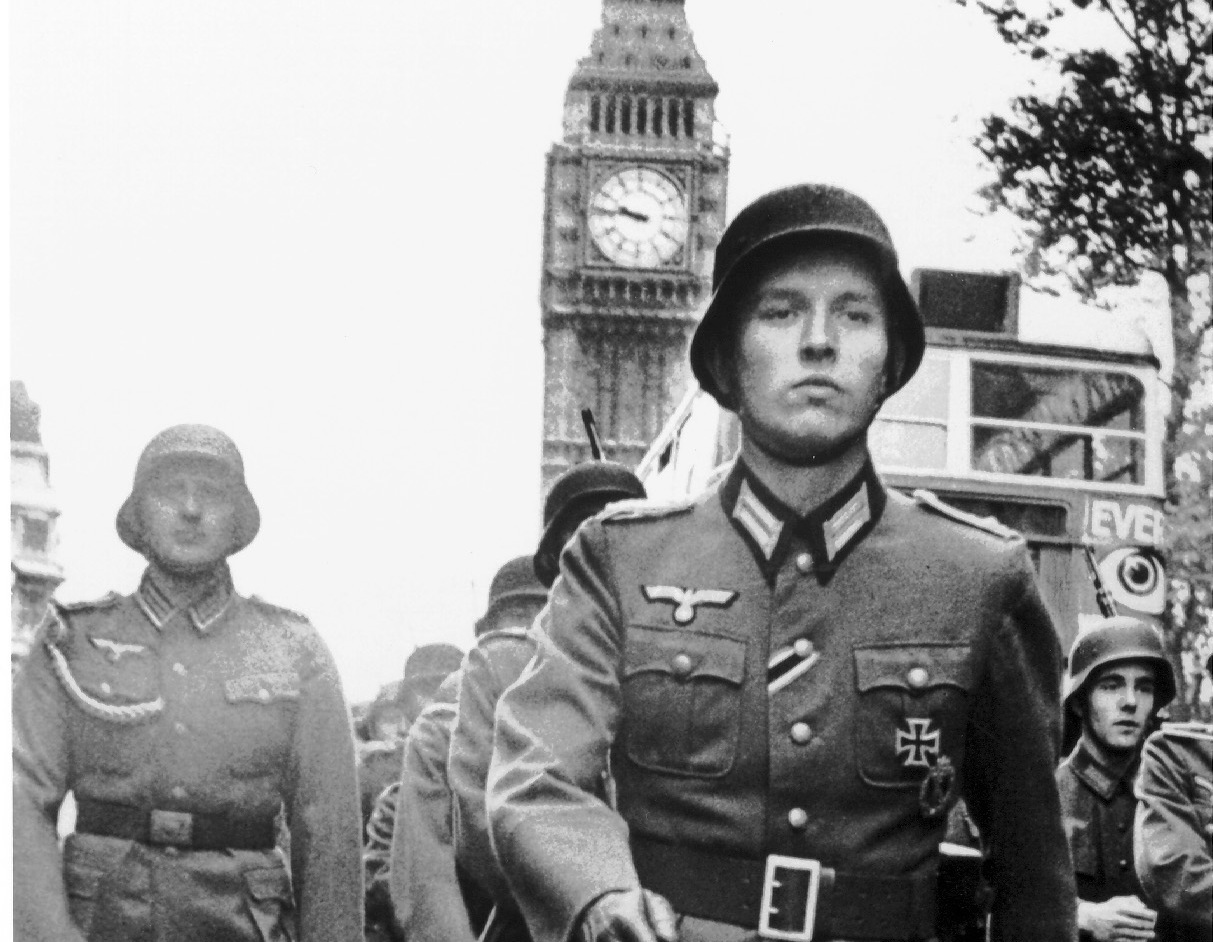 German troops march in Parliament Square, London from a scene in the 1964 movie IT HAPPENED HERE, directed by Kevin Brownlow and Andrew Mollo.