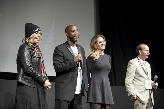 Members of the filmmaking team answer questions from the audience following the DOC NYC screening of Mr.Chibbs (Photo by Simon Luethi)