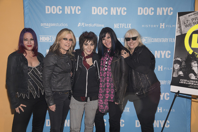 L7 and Joan Jett arrive for the DOC NYC screening of L7: Pretend We're Dead (Photo by Simon Luethi)