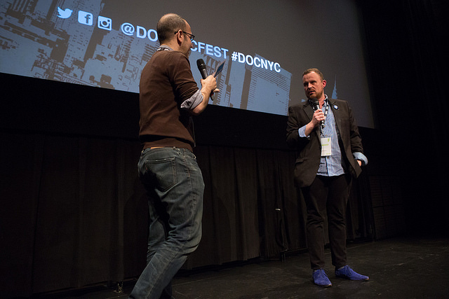 Director Rohan Spong takes questions from the audience following the DOC NYC screening of Winter at Westbeth (Photo by Lou Aguilar)