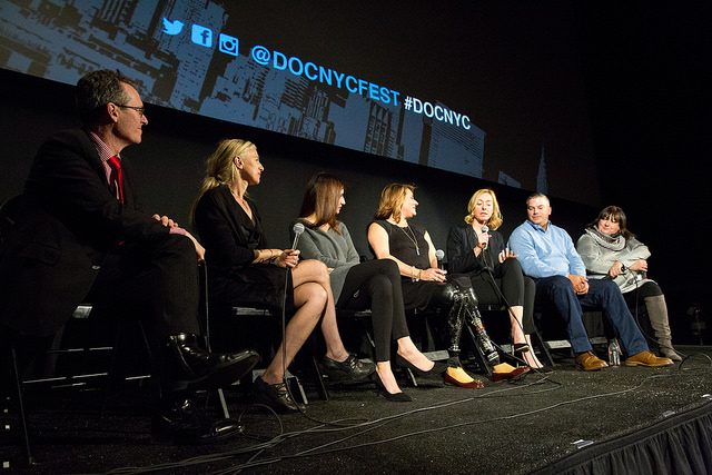 Subjects and members of the filmmaking team take questions from the audience following the DOC NYC screening of Marathon: The Patriots Day Bombing (Photo by Spencer Worthley)