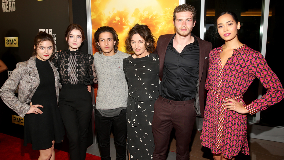 LOS ANGELES, CA - MARCH 29: (L-R) Actors Ally Ioannides, Sarah Bolger, Aramis Knight, Orla Brady, Oliver Stark and Madeleine Mantock attend the season 2 premiere of