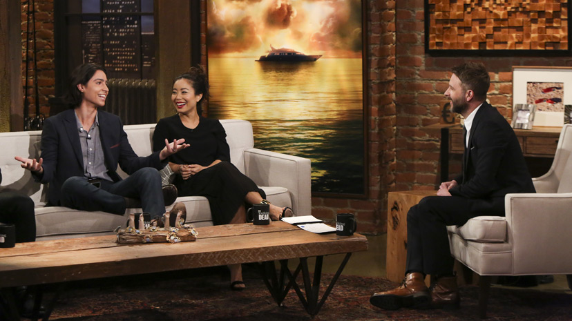 Lorenzo James Henrie (Chris Manawa), Michelle Ang (Alex), y  Chris Hardwick - Photo by Jordin Althaus/AM