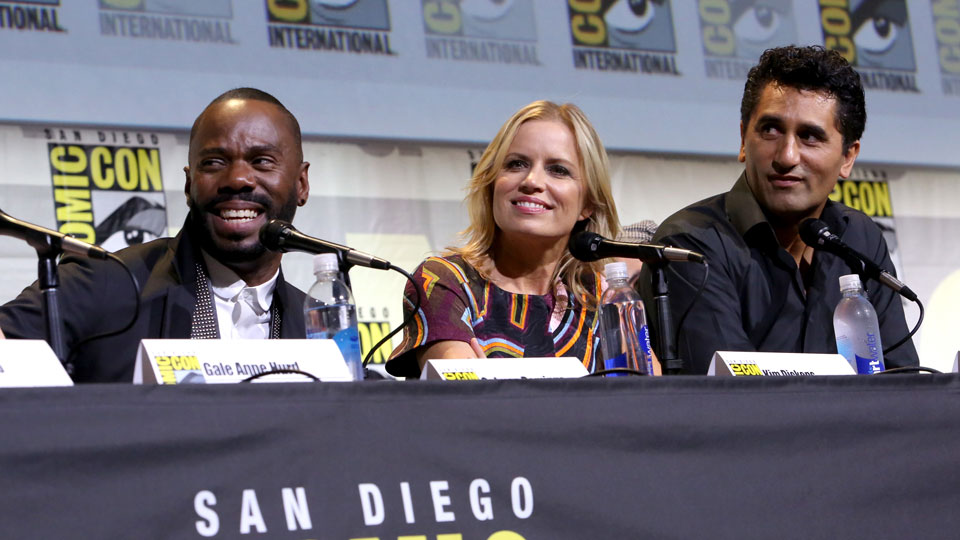 SAN DIEGO, CA - JULY 22: (L-R) Actors Colman Domingo, Kim Dickens and Cliff Curtis attend AMC's