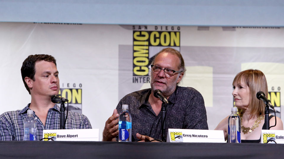 SAN DIEGO, CA - JULY 22: (L-R) Producer David Alpert, producer/director Greg Nicotero, and producer Gale Anne Hurd attend AMC's
