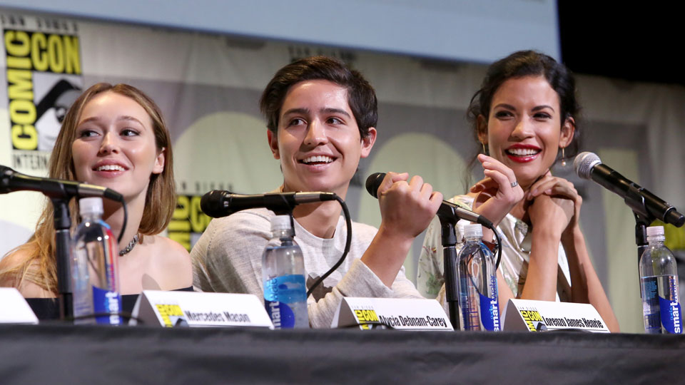 SAN DIEGO, CA - JULY 22: (L-R) Actors Alycia Debnam Carey, Lorenzo James Henrie and Danay Garca attend AMC's