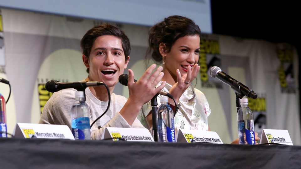 SAN DIEGO, CA - JULY 22: Actors Lorenzo James Henrie (L) and Danay Garca attend AMC's