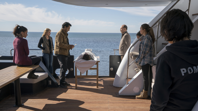 Mercedes Mason as Ofelia Salazar, Cliff Curtis as Travis Manawa, Rubén Blades as Daniel Salazar, Frank Dillane as Nick Clark, Alycia Pebnam-Carey as Alicia Clark, Lorenzo James Henrie as Chris Manawa, Kim Dickens as Madison Clark; group - Fear of the Walking Dead_Season 2, Episode 01 -  Photo Credit: Richard Foreman/AMC