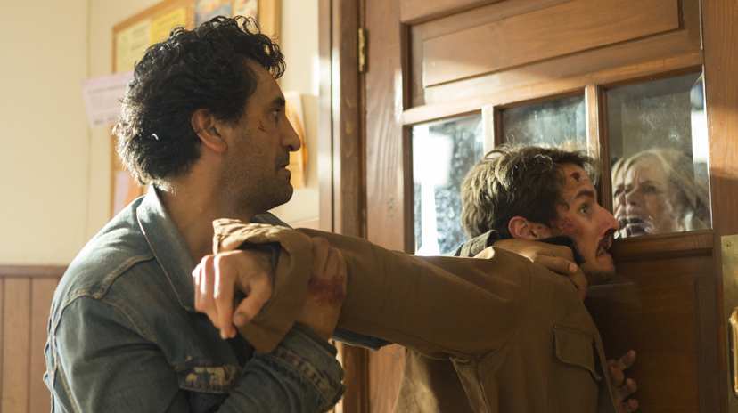 Cliff Curtis as Travis Manawa, Kim Dickens as Madison Clark, Kelly Blatz as Brandon - Fear the Walking Dead _ Season 2, Episode 14 - Photo Credit: Peter Iovino/AMC