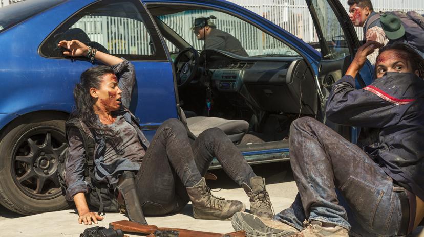 Frank Dillane as Nick Clark, Danay Garcia as Luciana - Fear the Walking Dead _ Season 2, Episode 15 - Photo Credit: Peter Iovino/AMC