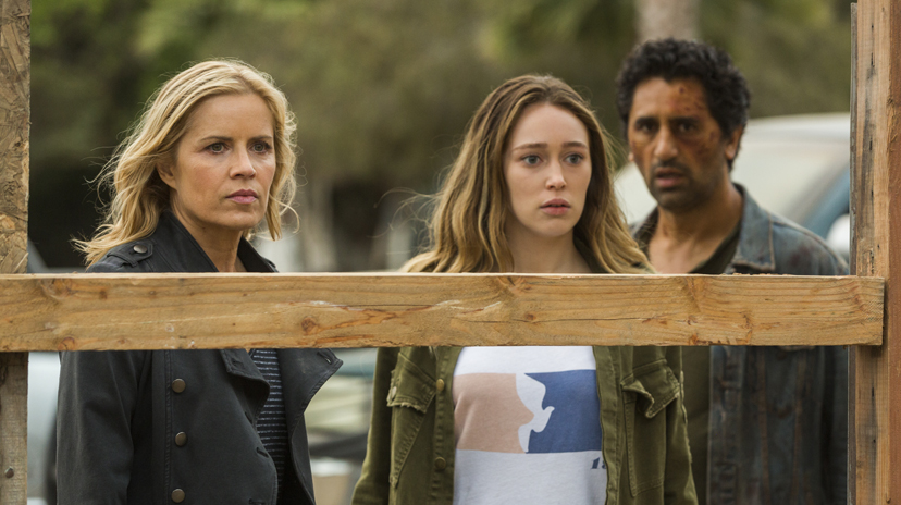 Kim Dickens as Madison Clark, Cliff Curtis as Travis Manawa, Alycia Debnam-Carey as Alicia Clark - Fear the Walking Dead _ Season 2, Episode 15 - Photo Credit: Peter Iovino/AMC
