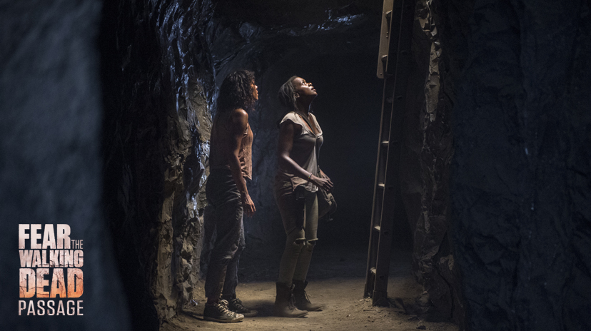 Kelsey Scott as Sierra, Mishel Prada as Gabi - Fear the Walking Dead _ Season 2, Passage - Photo Credit: Ron Jaffe/AMC