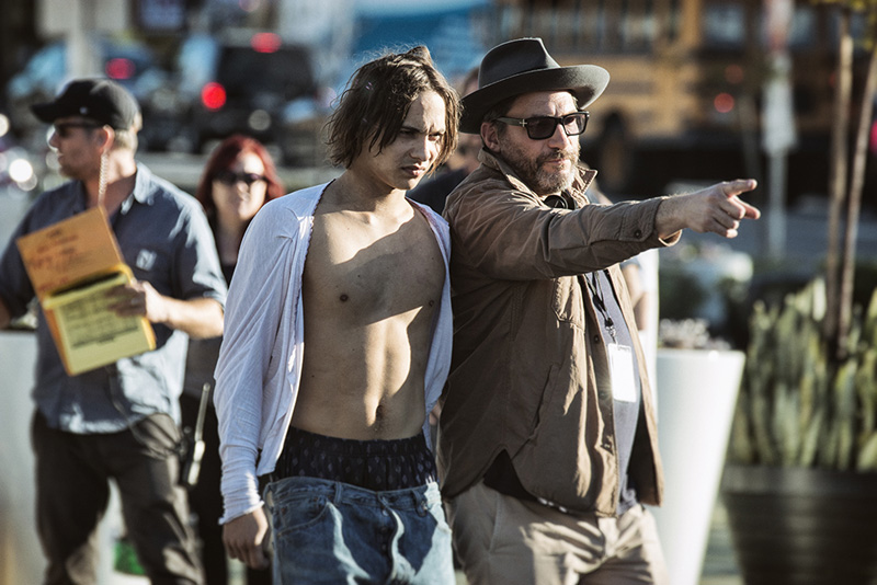 Frank Dillane as Nick and Co-Executive Producer Adam Davidson - Fear The Walking Dead _ Season 1, Episode 1 - Photo Credit: Justin Lubin/AMC