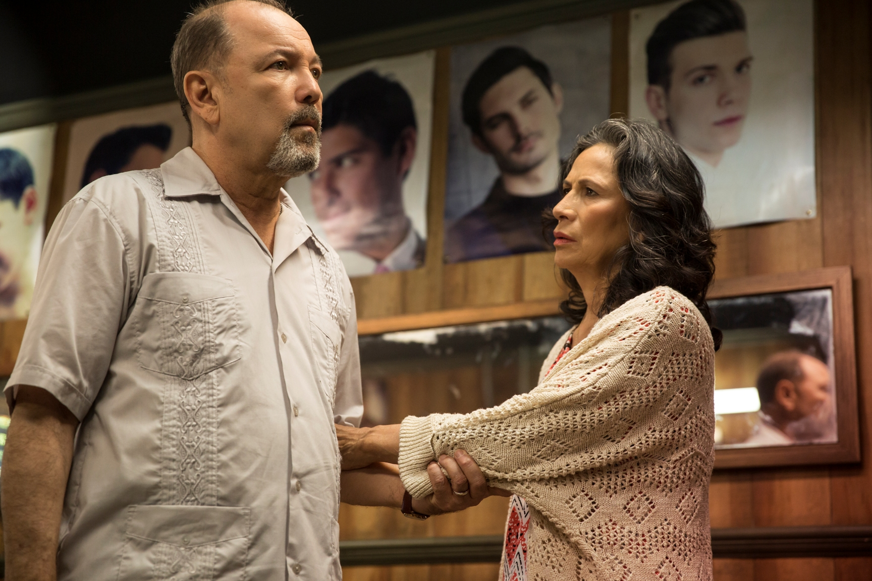 Ruben Blades as Daniel Salazar and Patricia Reyes Spíndola as Griselda Salazar - Fear The Walking Dead _ Season 1, Episode 2 - Photo Credit: Justina Mintz/AMC