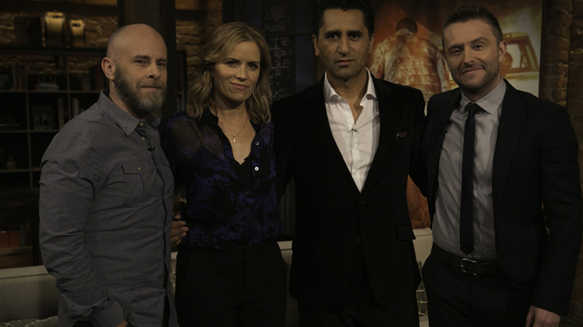 Dave Erickson, Cliff Curtis, Kim Dickens, Chris Hardwick - Talking Dead _ Season 5, Episode 18 - Photo Credit: Jordin Althaus/AMC