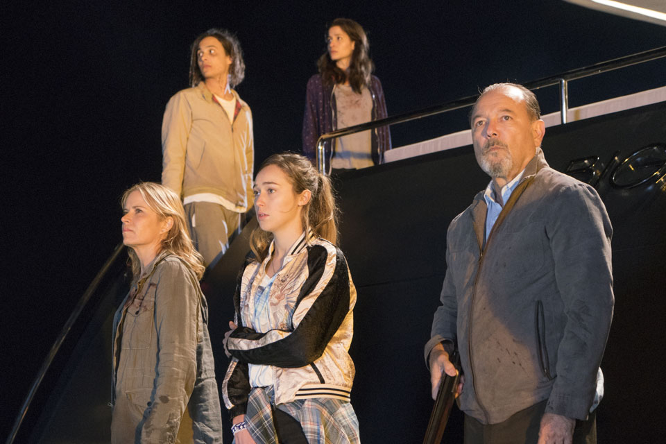 Madison Clark (Kim Dickens), Nick Clark (Frank Dillane), Alicia Clark (Alycia Debnam-Carey), Ofelia Salazar (Mercedes Mason) and Daniel Salazar (Ruben Blades) in Episode 2 Photo by Richard Foreman/AMC