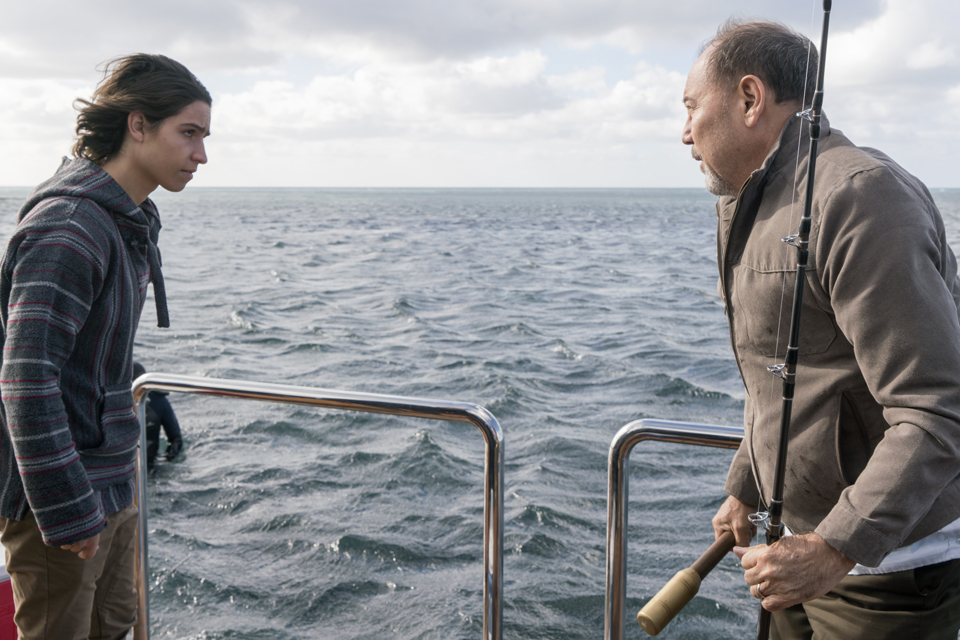 Christopher Manawa (Lorenzo James Henrie) and Daniel Salazar (Ruben Blades) in Episode 1 Photo by Richard Foreman/AMC