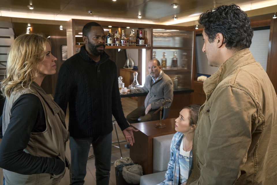Madison Clark (Kim Dickens), Victor Strand (Colman Domingo), Alicia Clark (Alycia Debnam-Carey), Daniel Salazar (Ruben Blades) and Travis Manawa (Cliff Curtis) in Episode 1 Photo by Richard Foreman/AMC