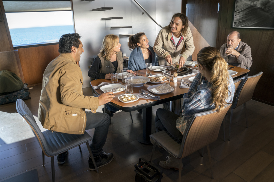 Ofelia Salazar (Mercedes Mason), Alicia Clark (Alycia Debnam-Carey), Travis Manawa (Cliff Curtis), Madison Clark (Kim Dickens), Daniel Salazar (Ruben Blades) and Nick Clark (Frank Dillane) in Episode 1 Photo by Richard Foreman/AMC