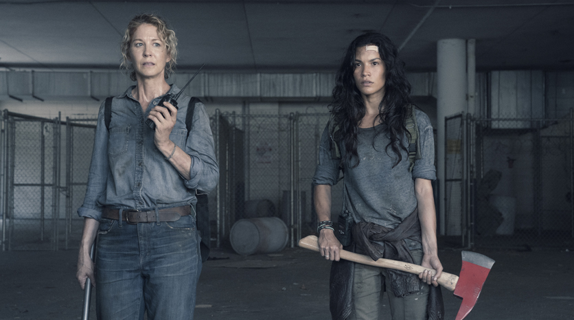 Jenna Elfman as June, Danay Garcia as Luciana - Fear the Walking Dead _ Season 4, Episode 15 - Photo Credit: Ryan Green/AMC