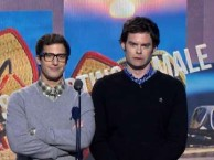 Bill Hader and Andy Samberg present at the 2014 Independent Spirit Awards.