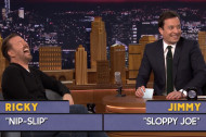 Ricky Gervais Plays an Inappropriate Game of Word Sneak on Fallon