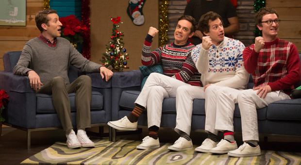 Comedy Bang! Bang! - The Lonely Island Wear Holiday Sweaters & White Pants