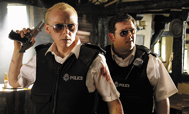 HOT FUZZ, Simon Pegg, Nick Frost, 2007. ©Rogue Pictures/courtesy Everett Collection