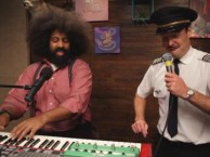 Reggie Watts makes music with guest Will Forte.