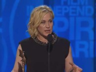 Patricia Arquette accepts the award for best supporting actress at the 2015 Independent Spirit Awards.
