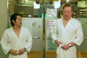 The Walking Dead's Steven Yeun Has a Naked Spa Day with Conan