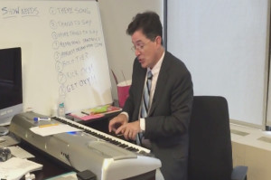 Watch Stephen Colbert Attempt to Write the Late Show Theme Song