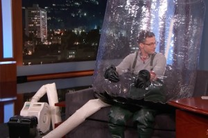 Andy Samberg Has the Flu, Wears Bubble Suit on Kimmel