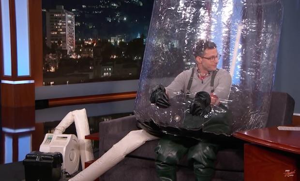 Andy Samberg Has The Flu Wears Bubble Suit On Kimmel Ifc