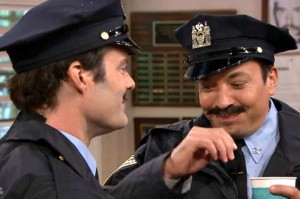 Watch Bill Hader and Jimmy Fallon Spit Food All Over Each Other in a Very, Very Serious Cop Drama