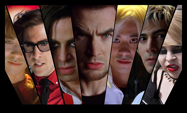 SCOTT PILGRIM VS. THE WORLD, from left: Shota Saito, Jason S chwartzman, Satya Bhabha, Chris Evans,
