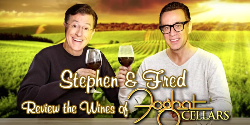 Fred Armisen and Stephen Colbert Sample Foghat Wine