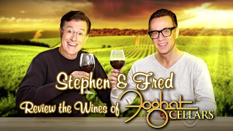 Fred Armisen and Stephen Colbert Sample Foghat Wine