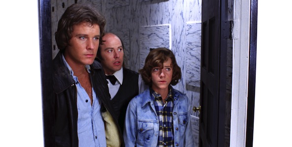 Jody (Bill Thornbury), Mike (Michael Baldwin) and Reggie (Reggie Bannister) enter the White Room in Don Coscarelli's PHANTASM.