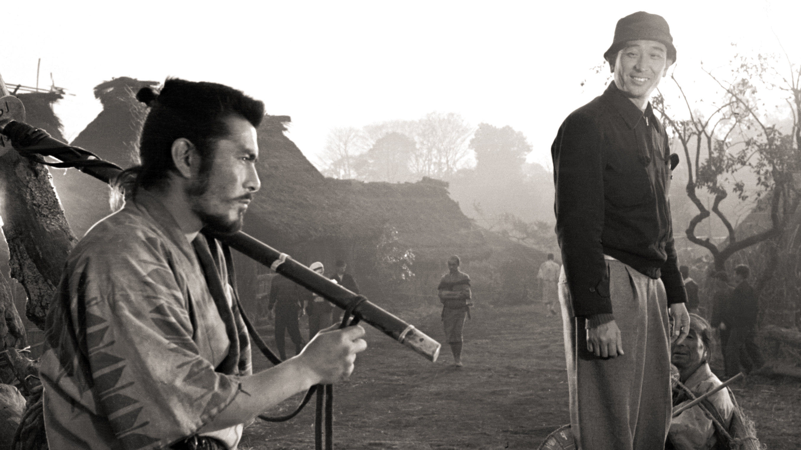 Mifune and Kuroswa on the set of SEVEN SAMURAI