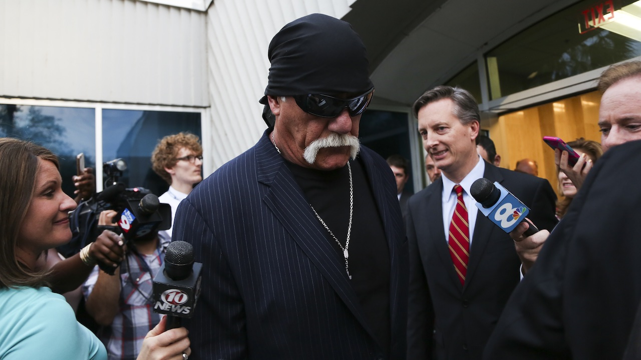 March 18, 2016 - St. Petersburg, Florida, U.S. - HULK HOGAN, whose given name is Terry Bollea walks out of the courthouse after he was awarded $115 million in damages in his lawsuit against the gossip website Gawker on Friday. (Credit Image: © Eve Edelheit/Tampa Bay Times via ZUMA Wire) (Newscom TagID: zumaamericasfourteen709524.jpg) [Photo via Newscom]