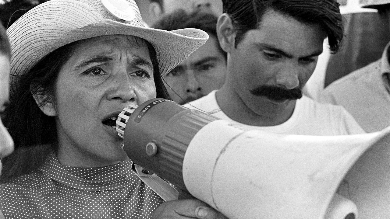 "Coachella, CA: 1969. United Farm Workers Coachella March, Spring 1969. UFW leader, Dolores Huerta, organizing marchers on 2nd day of March Coachella. © 1976 George Ballis/Take Stock / The Image Works       NOTE: The copyright notice must include ""The Image Works"" DO NOT SHORTEN THE NAME OF THE COMPANY"