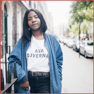 White shirt with black text that says Ava DuVernay