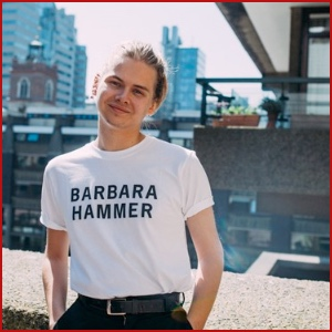 White shirt with black text that says Barbara Hammer