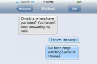 """Michael Showalter and Christina Lee Text About Cats, Wolves and """"Game of Thrones"""""""
