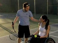 Sparks fly between Mia and Barak during a casual game of tennis.